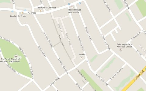 Roland Gardens SW9 scene of dramatic rescue of man from burning flat by four police officers. Image: Google Maps