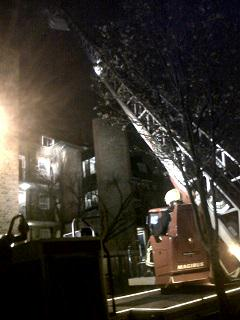 Rollit Street fire. London Fire Brigade ladder deployed. Image: @LFB