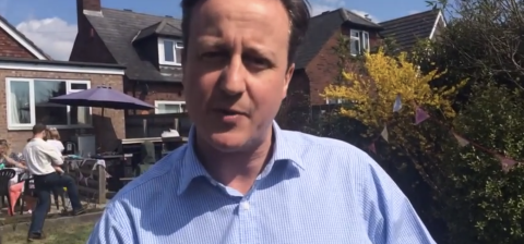 David Cameron's speech on tax and benefit changes.  Image: screen grab from video posted on Conservatives' YouTube channel.