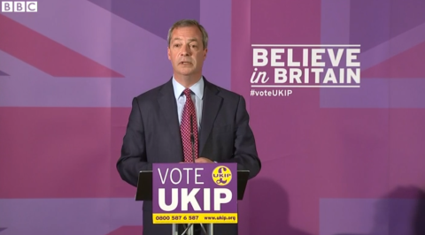 UKIP leader Nigel Farage speaking at the parties manifesto launch in Thurrock. Image: Screenshot from BBC coverage of the event.