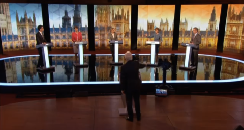 The line-up of the leaders' debate. Screen capture from BBC coverage.