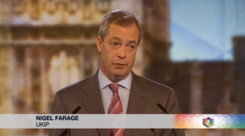UKIP leader Nigel Farage. Screen capture from BBC coverage.