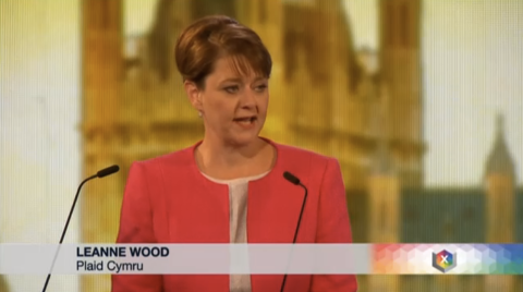 Leanne Wood of Plaid Cymru. Screen capture from BBC coverage.