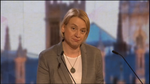 Green Party leader Natalie Bennett. Screen capture from BBC coverage.