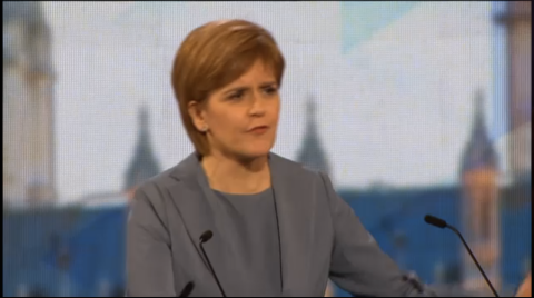 SNP leader Nicola Sturgeon. Screen capture from BBC coverage.
