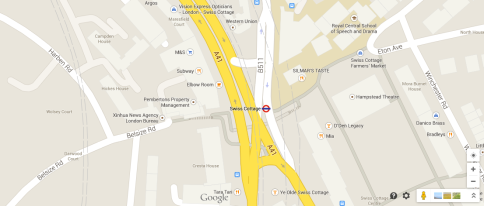 The collision took place at the intersection between Finchley Road and Collage Crescent. Image: Google Maps