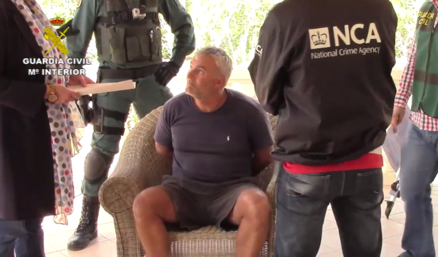 Paul Monk after being arrested by the Guardia Civil and the National Crime Agency. Pic: NCA Footage