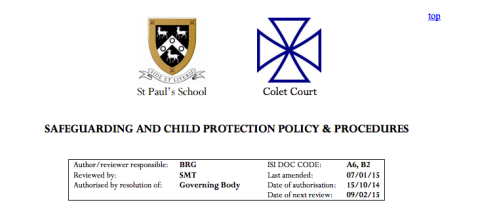 The school now features an extensive child protection document which can be found on their website. Image: Screenshot from http://www.stpaulsschool.org.uk/resource.aspx?id=222745