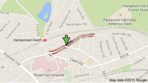 The attack took place at a bus stop on Constantine Road (NW3). Image: Google Maps.