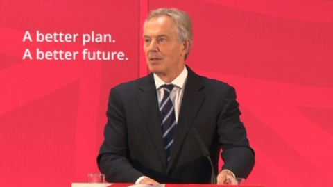 Tony Blair has attacked the Conservatives over EU referendum. Image: ITV news.