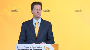 Deputy Prime Minister Nick Clegg at a press conference in London this morning, Image: ITV News.