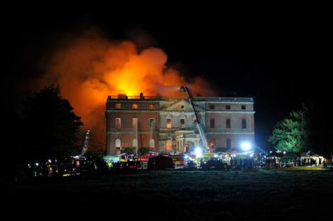Clandon House in flames. Image: NPAS_Redhill