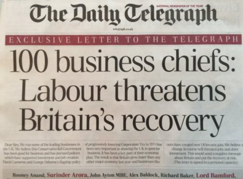 The Daily Telegraph front page - business leaders back Conservatives