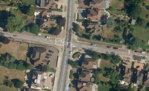 Murder victim found sitting in a car at the junction of The Paddocks and Greenhill in Wembley. Image: Google Satellite