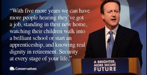 David Cameron launches the Conservative Party's 2015 General Election Manifesto. Image: @Conservatives