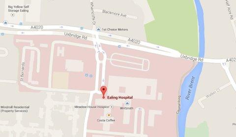 Uxbridge Road outside Ealing Hospital. Image: Google Maps.