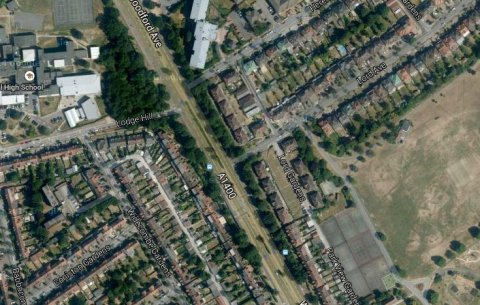 Woodford Avenue near the junction with Lord Avenue, Ilford- scene of double fatal collision between motorcycle and pedestrian. Image Google Satellite