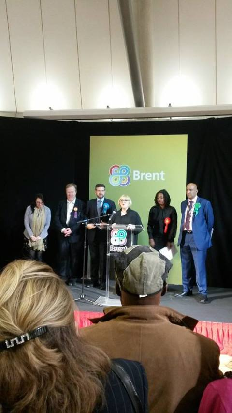 The candidates on stage during the declaration. L-R: Lauren Keith (Lib Dem), Stephen Priestley (UKIP), Alan Mendoza (Cons), Returning Officer, Dawn Butler (Lab), Shahrar Ali (Greens).