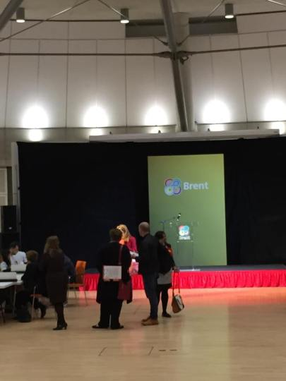 Inside Brent Civic Centre during the count.  Image: Emily Browne.