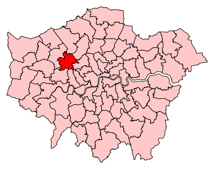 Map of where the Brent Central constituency is within London.