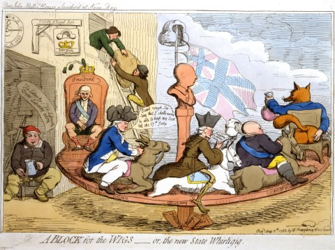"""A-Block-for-the-Wigs-Gillray"" by James Gillray - Library of Congress, Prints & Photographs Division, LC-USZC4-6861 (color film copy transparency), uncompressed archival TIFF version (50 MB), color level (pick white and black points), cropped, and converted to JPEG (quality level 88) with the GIMP 2.4.5.. Licensed under Public Domain via Wikimedia Commons -"