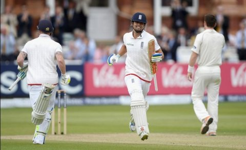 Alastair Cook celebrates scoring a test century for England against New Zealand at Lords. Image:@englandcricket