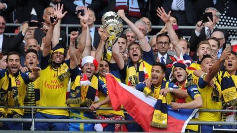 Arsenal lift the club's 12th FA Cup final victory at Wembley. Image:@ArsenalFC