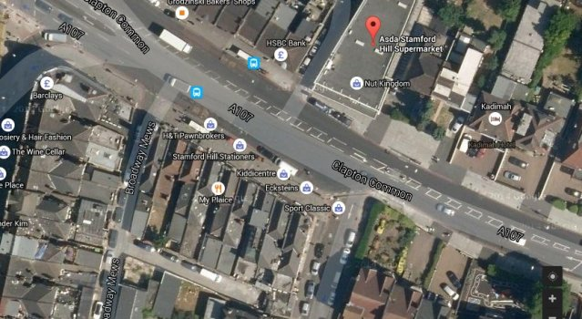 Asda, Clapton Common in Stamford Hill, Hackney. Image: Google satellite.