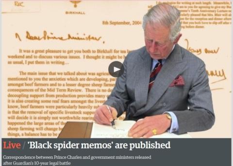 Guardian starts publishing Prince Charles 'Black spider memos.' Image: Guardian coverage. Click through
