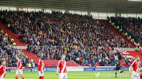 1,522 Brentford FC fans in Middlesbrough- making more noise than the home crowd. Image:@BrentfordFC