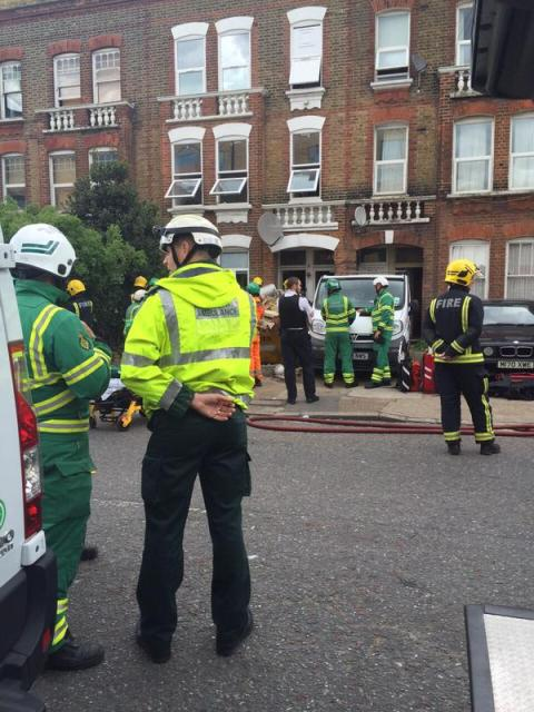 Multiple emergency responder units present at Chimney stack collapse at a house in Camberwell. Image: @LAS_HART