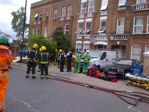 Chimney stack collapse in Southampton Way, Camberwell. Image: @LondonFire
