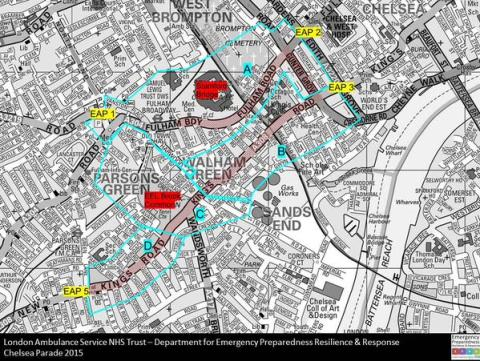 The route of today's Chelsea FC parade- lined with an estimated 70,000 fans. Image: @LASTacAdvisor