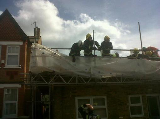 Firefighters rescue two men from collapsed building in West Ealing. Image: @LondonFire