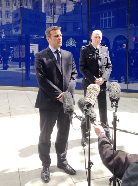 Detective Craig Turner Head of the Flying Squad and Commander Peter Spindler (uniformed right)- announcing arrests in Hatton Garden safe deposit centre burglary.