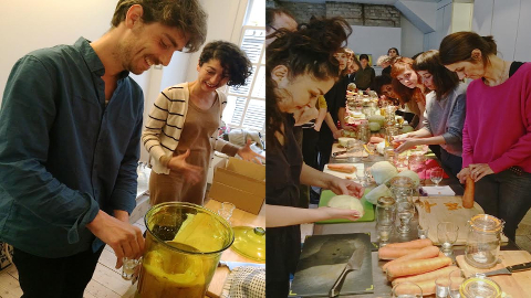 Far left: Delfina resident artist Daniel Salomon prepares Kombucha tea for workshop participants (shown on right).