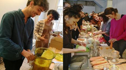 Far left: Delfina resident artist Daniel Salomon prepares Kombucha tea for workshop participants (shown on right).