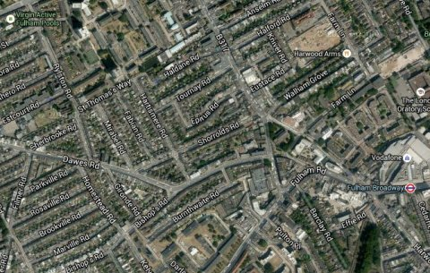 Dawes Road and North End Road (B317) in Fulham. Image: Google Satellite.