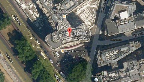 The Dorchester Hotel in London's Park Lane area. Image: Google Satellite.