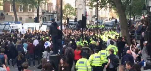 Extra police deployed during 'anti-austerity' protest outside Downing Street. Image: screengrab from video @ShirleyAsquith