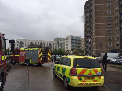 Flat fire- one resident taken to hospital for the effects of smoke inhalation. Image: @LAS_HART
