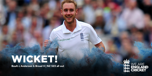 WICKET! @StuartBroad8 finishes off the innings. NZ 523 all out #ENGvNZ Image@englandcricket