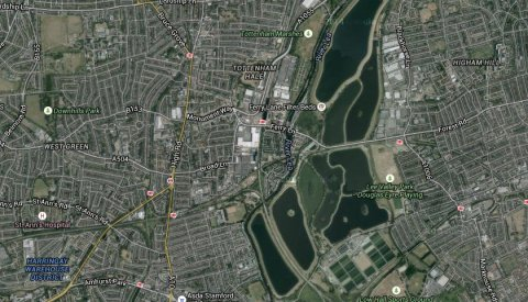 Forest Road through Walthamstow reservoir. Image: Google satellite.