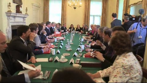 First Conservative cabinet meeting in 18 years.  Image: Screen grab from Downing Street video