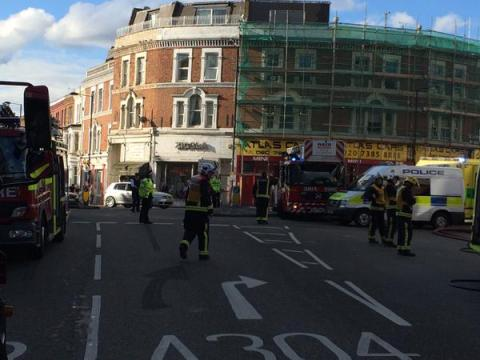 One man treated for burns and Fulham High Street closed during serious fire. Image@LondonFire