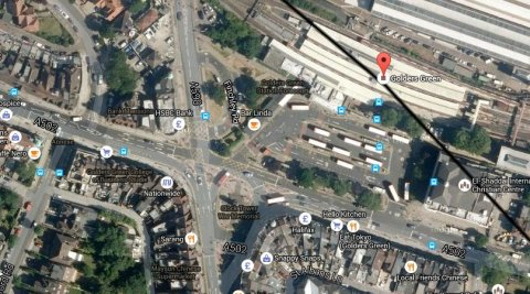 Finchley Road near Golders Green underground station. Image: Google satellite