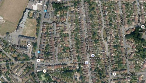 Grecian Crescent, Upper Norwood- the scene of a fatal house fire. Image: Google Satellite.
