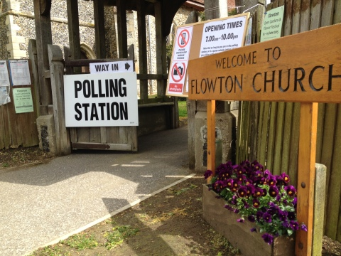 Flowton Church in rural Suffolk open for voting though the village has a population of only 119. Image: LMMNews