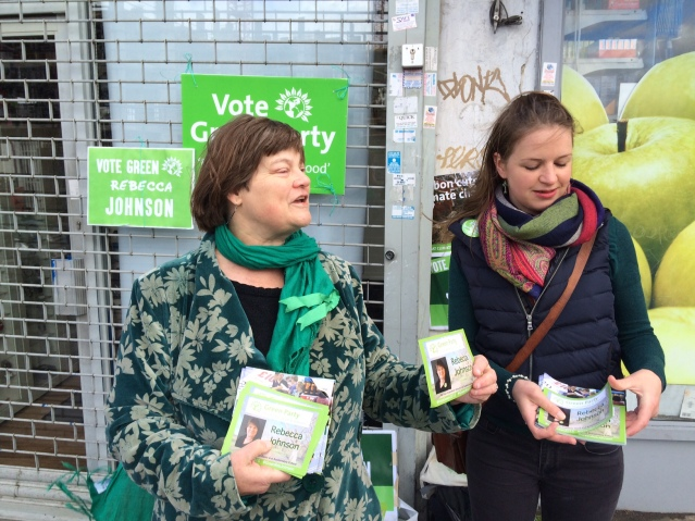 Green Party candidate for Hampstead and Kilburn canvasses for votes outside of West Hampstead Station