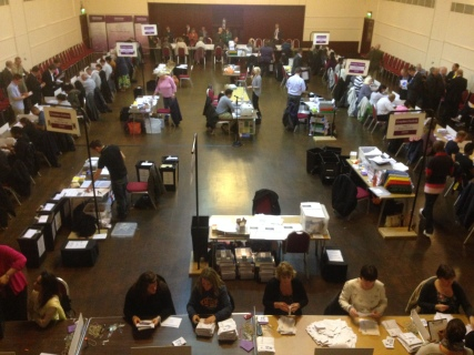 Central counting ballot papers in Croydon. Image by Roza Dawood
